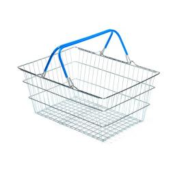 19 Litre Wire Supermarket Shopping Basket with Blue Handles