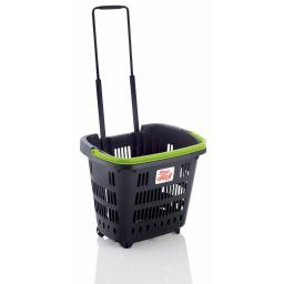 Dark Grey 34 Litre Trolley Basket - Green handle