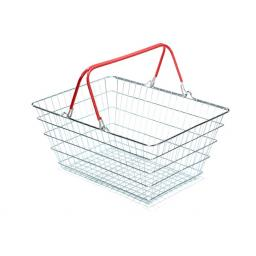 23 Litre Wire Supermarket Shopping Basket with Red Handles