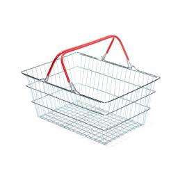 19 Litre Wire Supermarket Shopping Basket with Red Handles