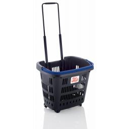 Dark Grey 34 Litre Trolley Basket - Blue handle
