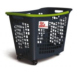 55 Litre, 4 Wheel Trolley Basket - Green Handle