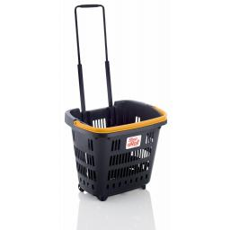 Dark Grey 34 Litre Trolley Basket - Yellow handle