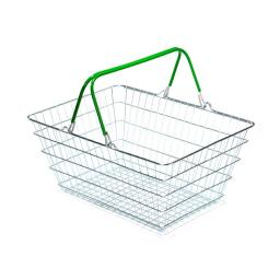 23 Litre Wire Supermarket Shopping Basket with Green Handles