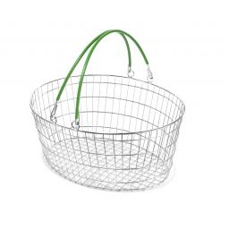 The Ellipse Oval Wire Basket - Green Handle