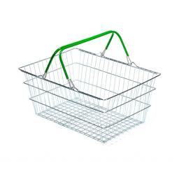 19 Litre Wire Supermarket Shopping Basket with Green Handles