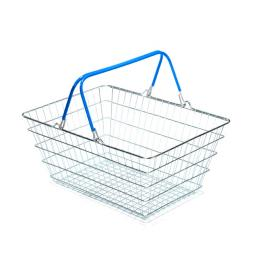 23 Litre Wire Supermarket Shopping Basket with Blue Handles