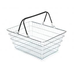 23 Litre Wire Supermarket Shopping Basket with Black Handles