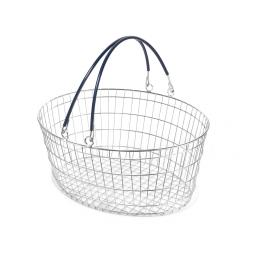 The Ellipse Oval Wire Basket - Navy Blue Handle