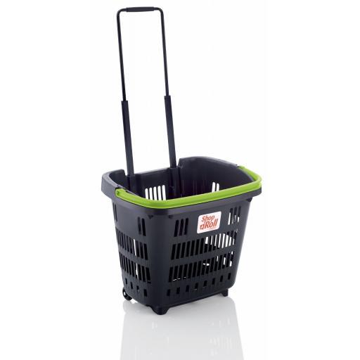 Dark Grey 34 Litre Trolley Basket - Coloured handle