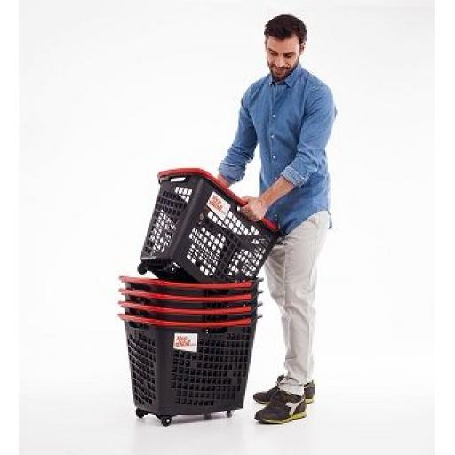 55 Litre, 4 Wheel Trolley Basket - Coloured Handle