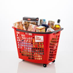 55 Litre Trolley Basket - Red