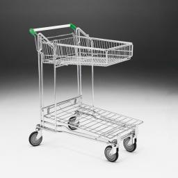Flatbed trolleys with large basket